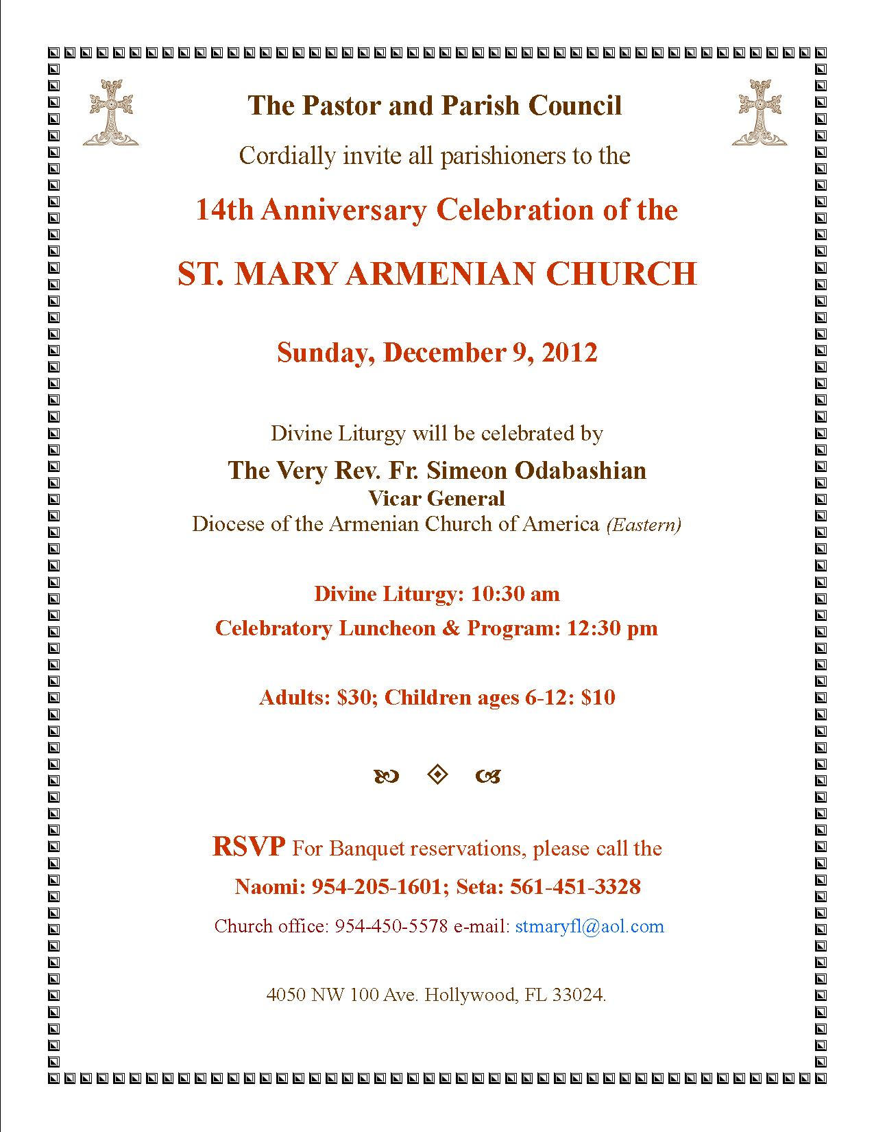 St Mary Armenian Church 14th Anniversary Celebration