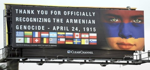 A billboard thanking countires that recognize genocied against Armenians is seen Wednesday, April 17, 2013, along I-95 in Pompano Beach. Photo courtesy of Joe Cavaretta, SunSentinel