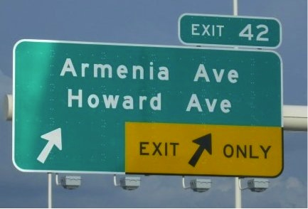 Tampa Bay I-275 Exit 42 Armenia Ave. and Howard Ave. Sign