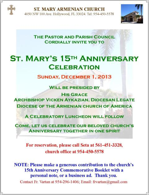 Church 15th Anniversary flyer, 2013