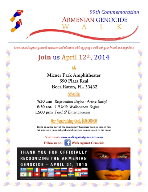 Armenian Walk A Thon Flyer 2014