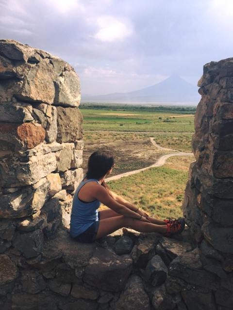 Margaret Atayants looking towards Mount Ararat.