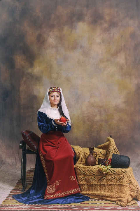 Margaret Atayants in traditional Armenian clothing. Photo credit: Photo Atelier Marashlyan.