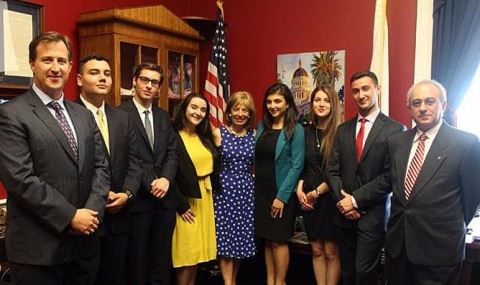 Armenian Assembly of America Executive Director Bryan Ardouny, Class of 2016 Terjenian-Thomas Assembly Interns,Armenian Caucus Co-Chair Jackie Speier (D-CA), and Armenian National Institute Director Dr. Rouben Adalian