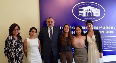 Armenian Assembly of America Regional Director Arpi Vartanian and Class of 2016 Assembly Yerevan Summer Interns with Nagorno Karabakh Republic Foreign Minister Karen Mirzoyan