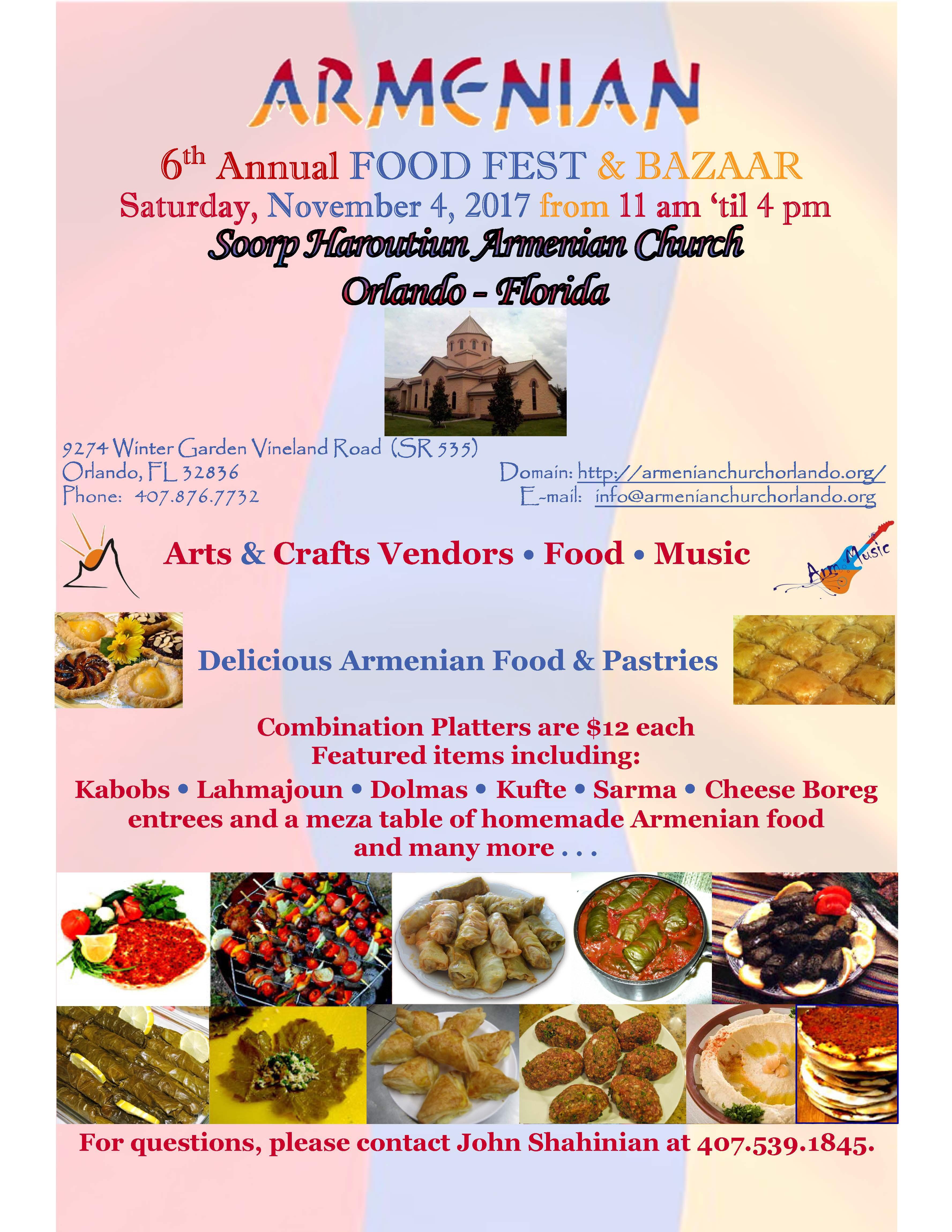 6th annual armenian food festival u0026 bazaar in orlando florida